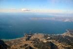 房総半島上空より三浦半島ごしに富士山が見える