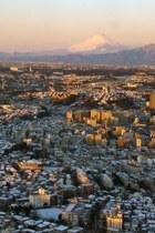 朝焼けの富士山と横浜市西部、大和市、厚木市など